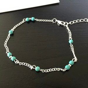 Pretty Sterling Silver Turquoise Anklet